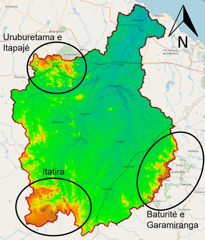 Esquema com exemplos de regiões montanhosas nos divisores da bacia do Curu