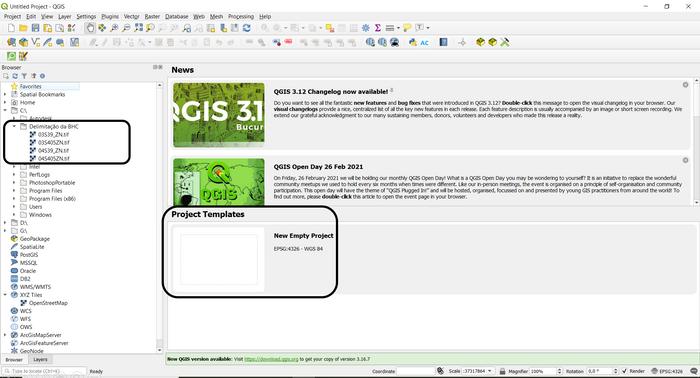Interface inicial do programa QGIS