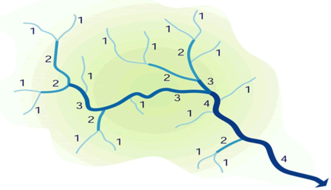 Classificação dos rios de acordo com a ordem de Strahler