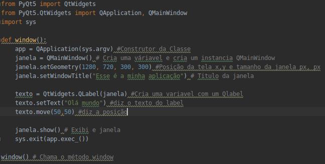Exemplo de Código em Python usando QT