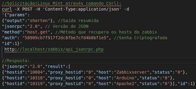 Exemplo de Solicitação de Host Zabbix