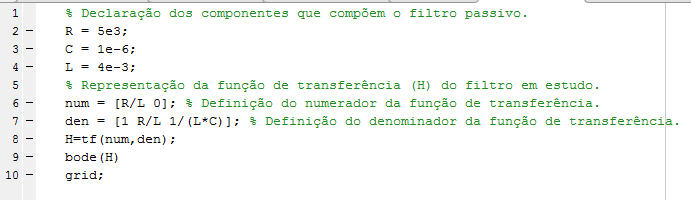 Código para simular filtro passa baixa de 40 Hz