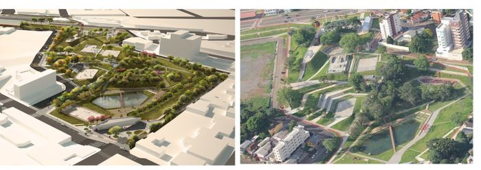 Maquete e vista aérea Parque da Gare