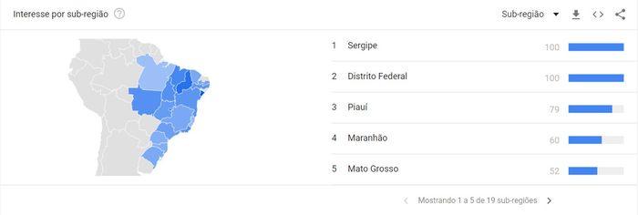 Pesquisa Google Trends por regiões sobre Curso de Marketing Digital.
