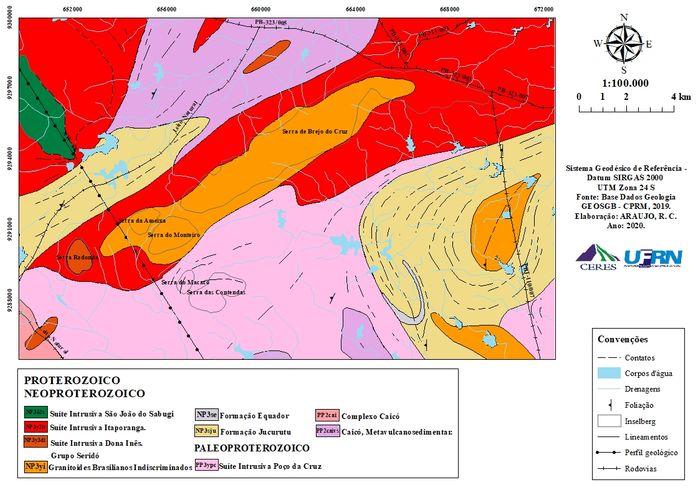 Mapa Geológico da área de estudo
