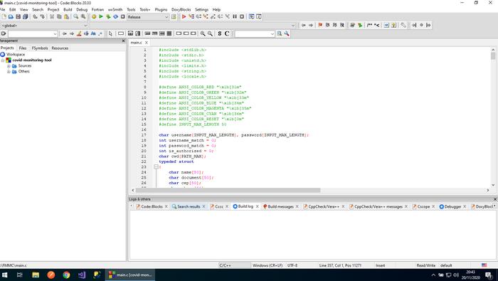 Projeto aberto no CodeBlocks