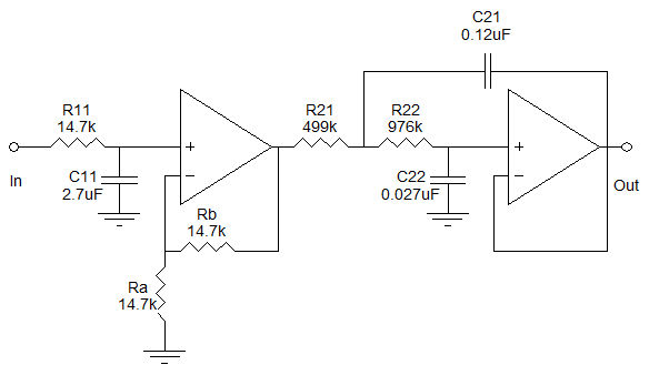 Circuito filtro passa-baixas de terceira ordem.
