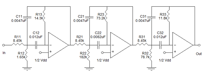 Circuito filtro passa-faixas de sexta ordem.