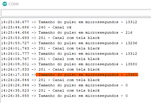 Monitor serial do Arduino na ausência de sinal, pulso alto entendido com valor igual a zero.