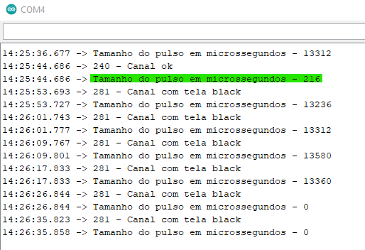 Monitor serial do Arduino na presença de sinal 0 < pulso < 10.00