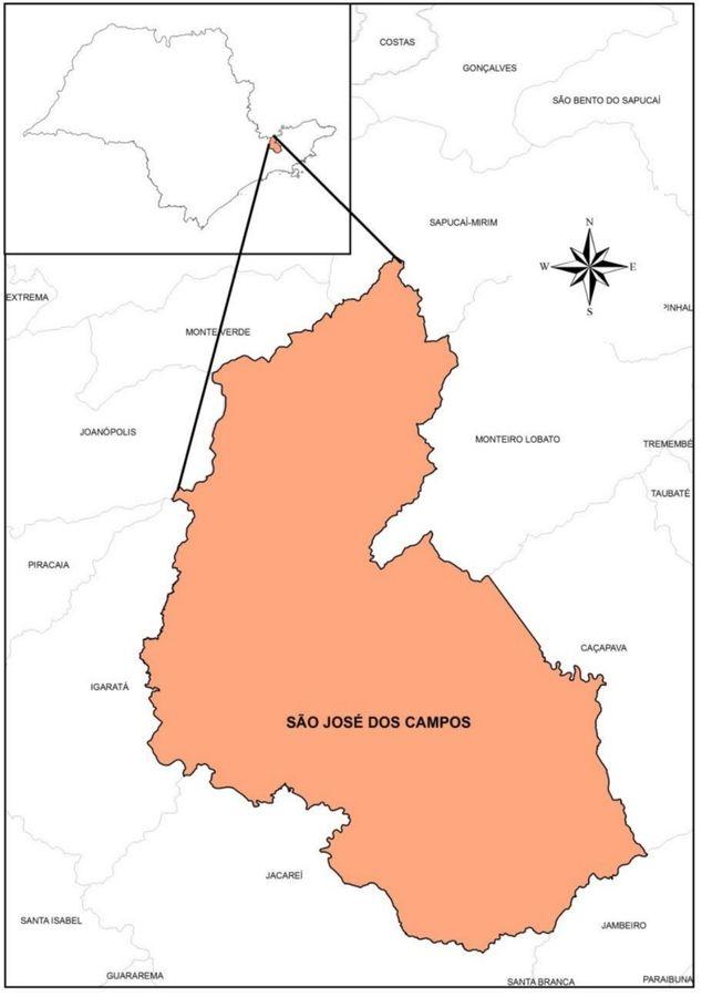 Mapa de Localização de São José dos Campos e seus municípios limítrofes