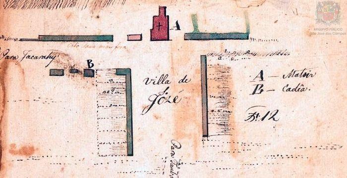Croqui urbanístico da Vila de São José, destacando a Matriz e a cadeia, por Arnaud Julien Pallière (1821)