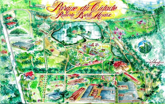 Painel espacial artístico do atual Parque da Cidade Roberto Burle Marx, com destaque aos pontos de interesse turístico.