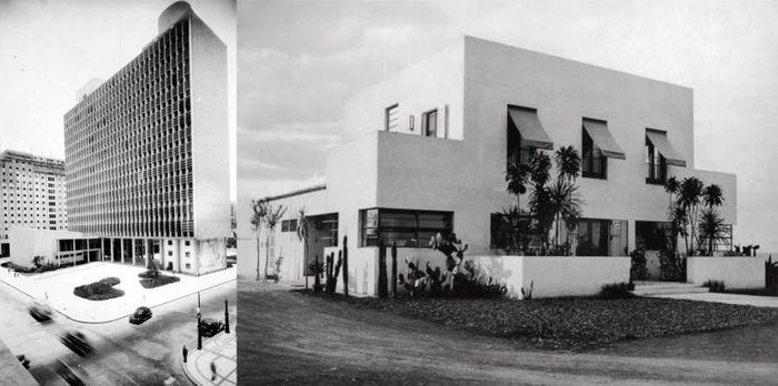 À esquerda: fachada norte do Ministério da Educação e Saúde no Rio de Janeiro, 1946. À direita: casa modernista da rua Santa Cruz, de Gregori Warchavchik.