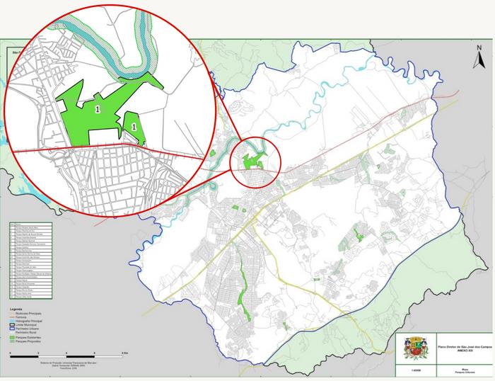 Parques urbanos, em destaque a área verde correspondente ao que é atualmente o Parque da Cidade Roberto Burle Marx. Modificado pela autora.
