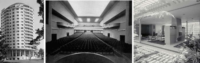 Da esquerda para a direita: (1) Edifício Guarani.(2) Cine Art-Palácio.(3) Residência Castor Delgado Perez.