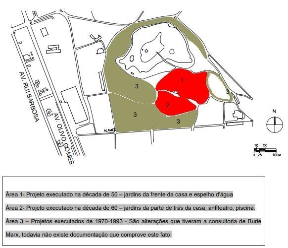 Croqui da área dos jardins e residência Olivo Gomes