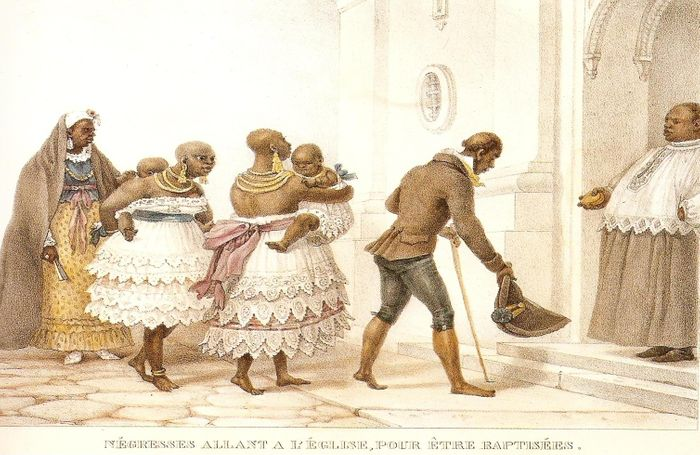 Negras novas a caminho da igreja para o batismo.
