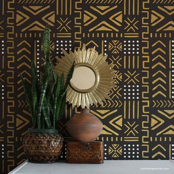 Estampas africanas no papel de parede.