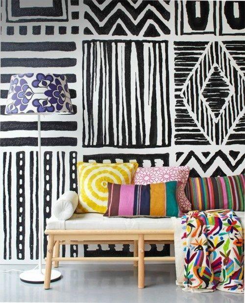 Papel de parede com estampa africana.