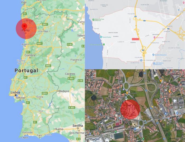 localização em vista Macro Lar de Idosos Parafita Portugal