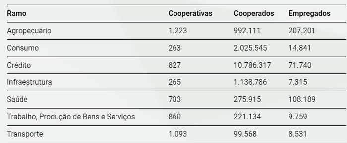 7 Ramos do cooperativismo