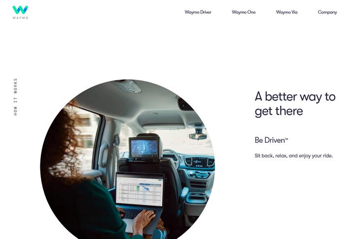 Captura de tela do site da Waymo