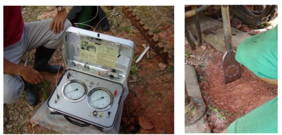 Fotos da unidade de controle (esquerda) e da lâmina penetrando no solo (direita)