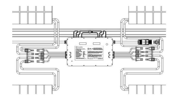 Esquematico de Ligação dos módulos na microinversor Hoymiles