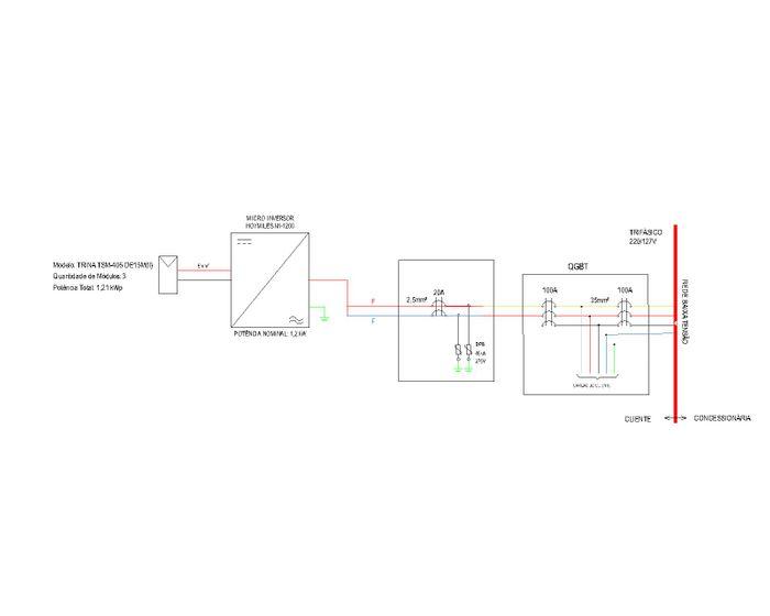 Diagrama Unifilar do Sistema com Microinversor Hoymiles