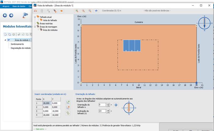 Desenho das placas no software PVSOL