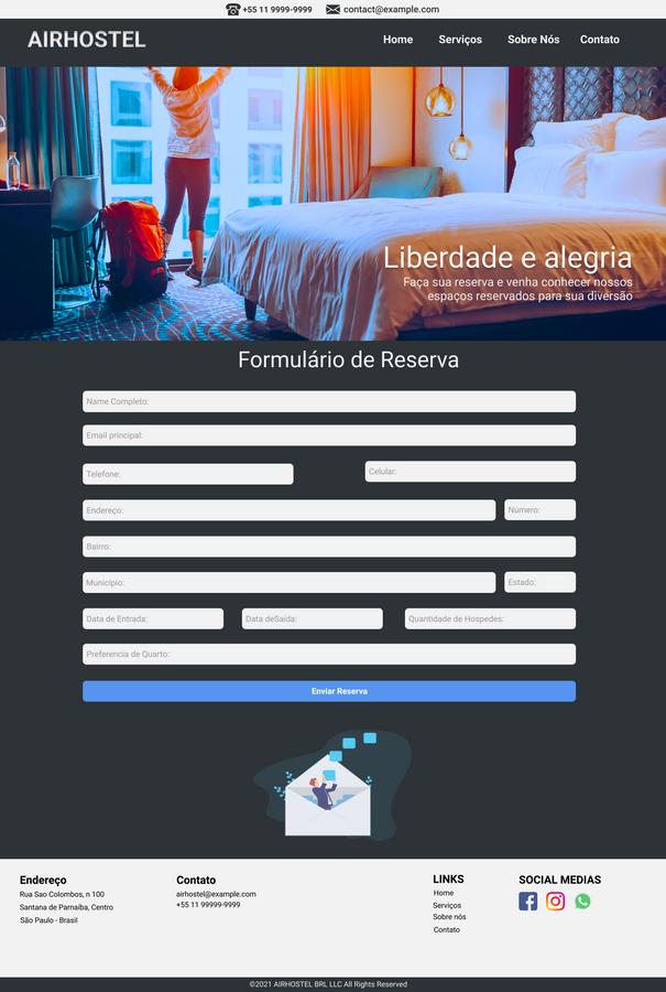 Tela formulário de reserva web