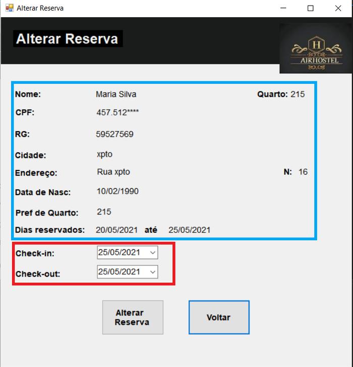Alterar reserva