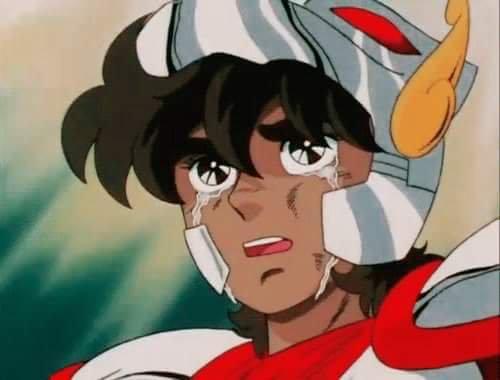 Seya de Pegasus Chorando, personagem principal do animê Os Cavaleiros do Zodíaco